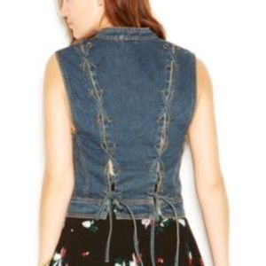 Free People Rugged Ripped Lace-Up Denim Vest, sz M